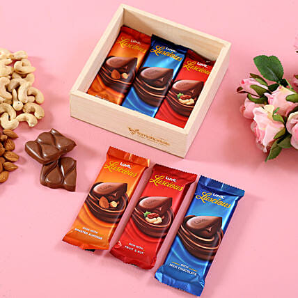LuvIt Luscious Chocolates In Wooden Basket: Karva Chauth Gifts India