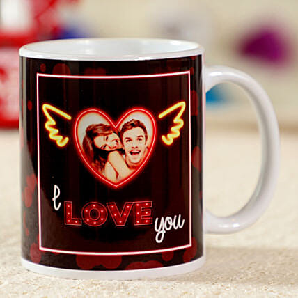 I Love You White Personalised Mug: Custom Photo Coffee Mugs