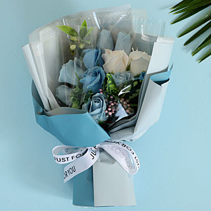 Blue & White Artificial Flower Bouquet: Artificial Flowers
