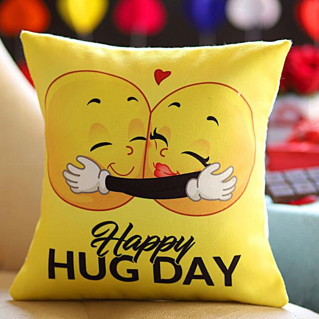 Happy Hug Day Printed Emoji Cushion: Hug Day Gifts