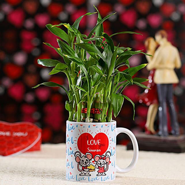 Lucky Bamboo In Adorable Mug: Lucky Bamboo Plants