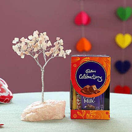 Beautiful Rose Quartz Wish Tree & Cadbury: