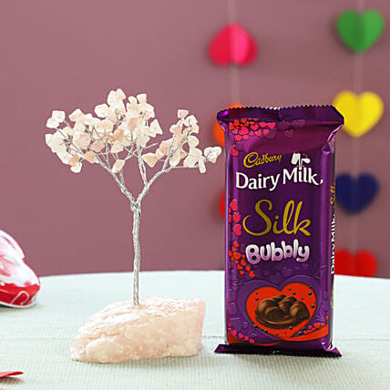 Beautiful Rose Quartz Wish Tree & Cadbury Bubbly: