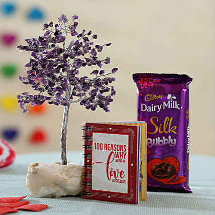Green Aventurine Stone Wish Tree Love Combo: Cadbury Chocolates