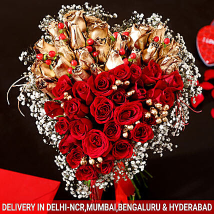 Golden & Red Roses Heart Royalty: Heart Shaped Flowers Arrangement For Valentine's Day