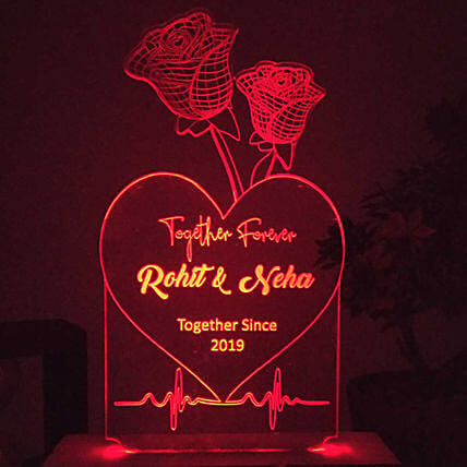 Personalised Roses Red LED Night Lamp: Personalised Lamps