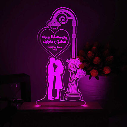 Couple In Love Personalised LED Lamp- Pink: Personalised Lamps