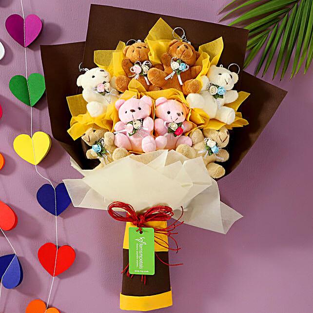 8 Cuddly Teddy Bears Bouquet: Soft toys for Bhai Dooj