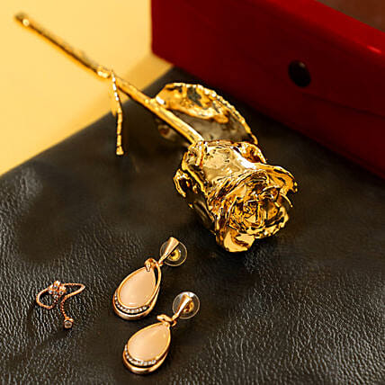 Gold Plated Rose & Jewellery Combo: Roses