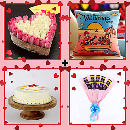 Valentine's Wishes Love Combo: Heart Shaped Flowers Arrangement For Valentine's Day