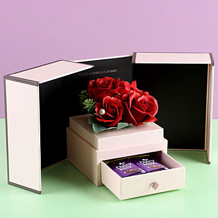 Artificial Red Roses Love Combo: Cadbury Chocolates
