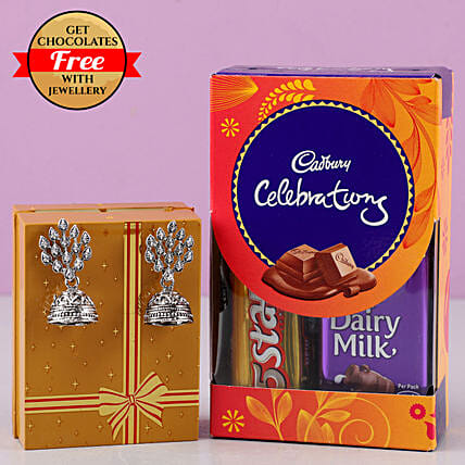 Free Chocolates With Designer Earrings: Combo Gifts