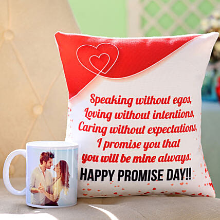 Personalised Mug & Promise Day Cushion: Gifts for Promise Day