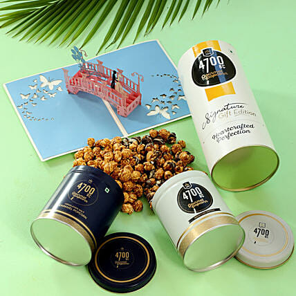 Delightful Popcorn & Couple Greeting Card Combo: Send Gourmet Gifts