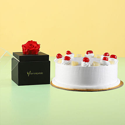 Forever Red Rose With Pineapple Cake: Eggless Cakes