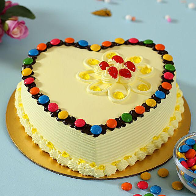 Heart Shaped Butterscotch Gems Cake: Butter Scotch Cakes