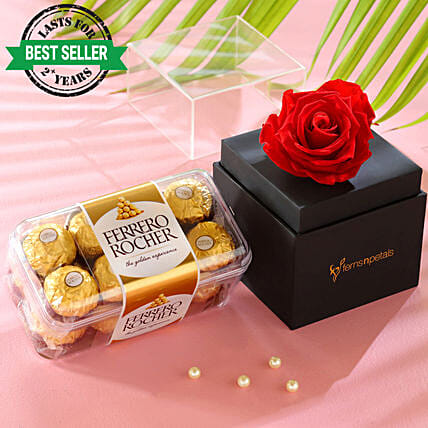 Red Forever Rose With Ferrero Rocher: Ferrero Rocher Chocolates