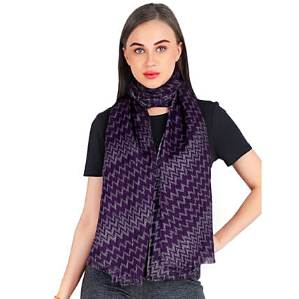 Zigzag Print Personalised Silk Wool Scarf: Apparel Gifts