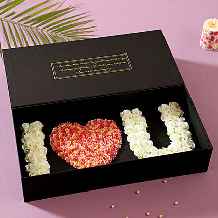 I Love U Artificial Roses Box: Valentine's Day Flowers
