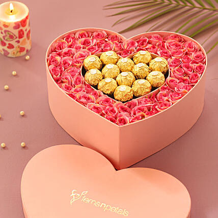Artificial Roses & Chocolates Heart Box: Flowers In box