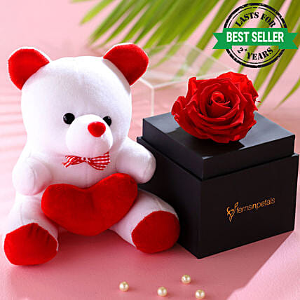 Red Forever Rose With Teddy Bear: Send Soft Toys