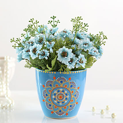 Bunch of Artificial Blue Daisies: Boss Day Gifts