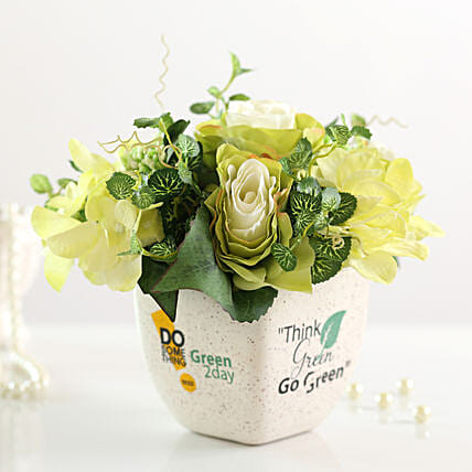 Bunch of Artificial Mixed Flowers Go Green Pot: Boss Day Gifts