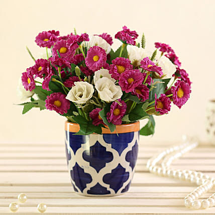Purple & White Artificial Flowers: Artificial Flowers