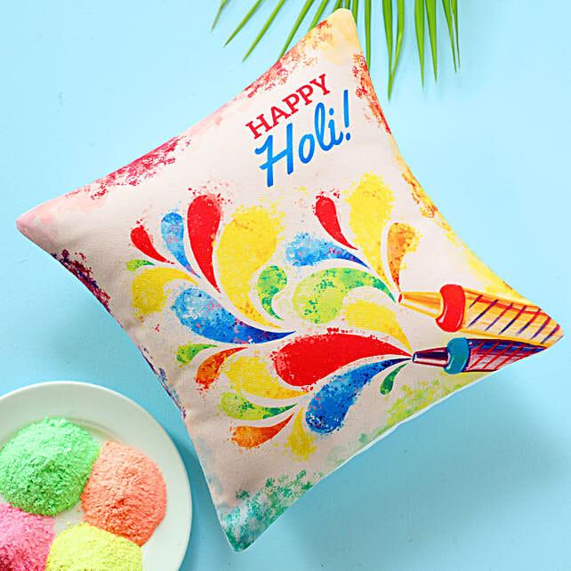 Happy Holi Colourful Cushion: Send Holi Gifts