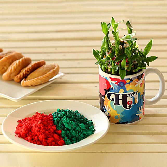 Holi Bamboo Plant Mug & Gulal: Send Holi Gifts