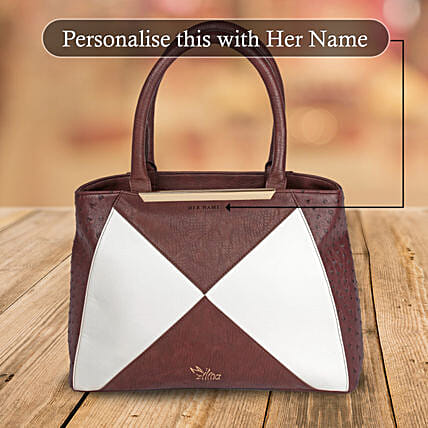 White & Brown Zipper Hand Bag: Handbags and Wallets Gifts