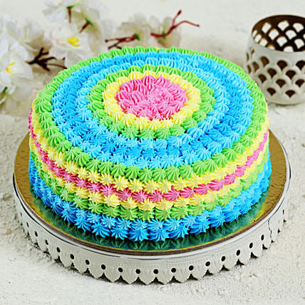 Colourful Cream Cake: Send Strawberry Cakes