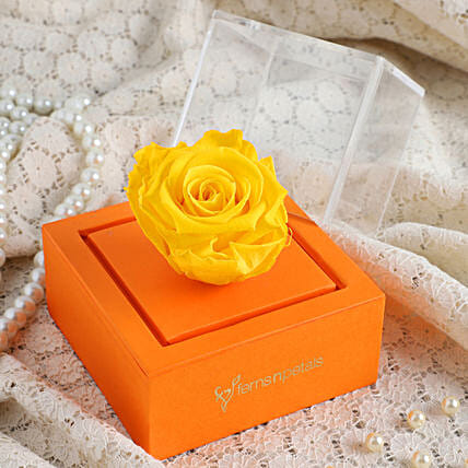 Yellow Forever Rose In Orange Box: Forever Roses