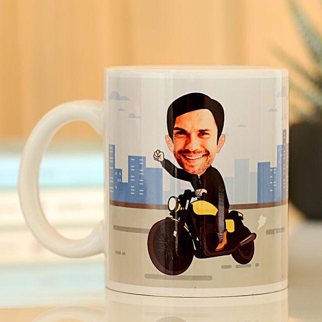 Personalised On Bike Mug: Custom Photo Coffee Mugs