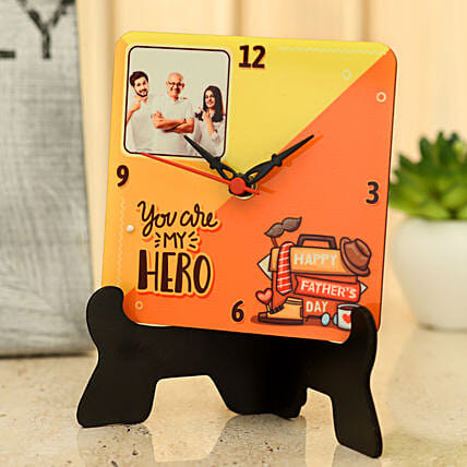 Personalised My Dad My Hero Table Clock: Gift for Father's Day