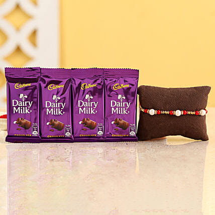 Pearl Rakhi & Dairy Milk Chocolates: Rakhi Gifts