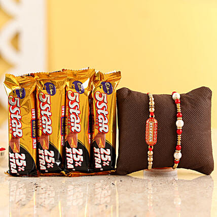 Pearl & Capsule Rakhi With Five Star Chocolates: Rakhi Gifts