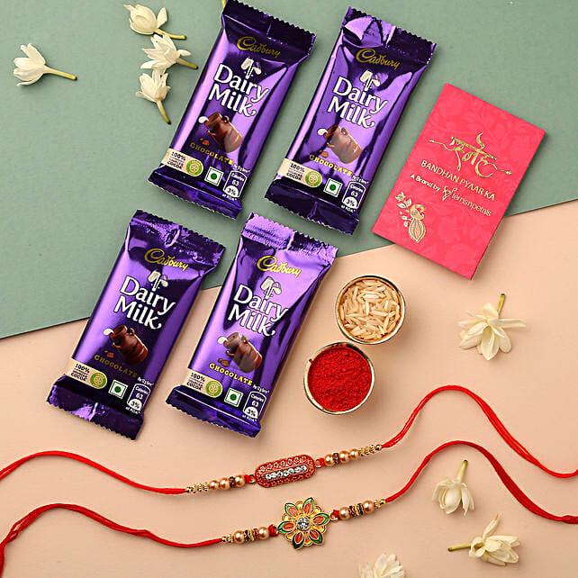 Meenakari Flower & Capsule Rakhi With Cadbury: Rakhi Gifts