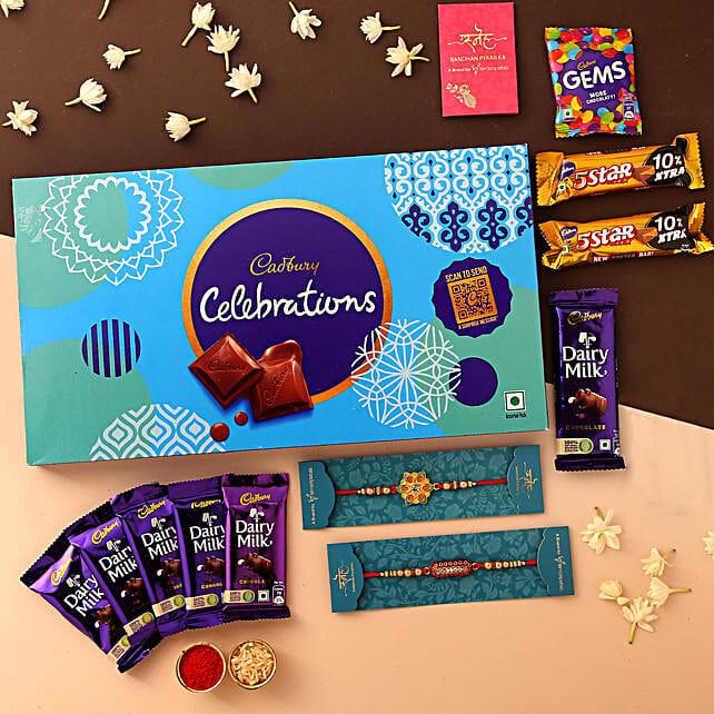 Set of 2 Rakhis & Celebrations With Box: Rakhi