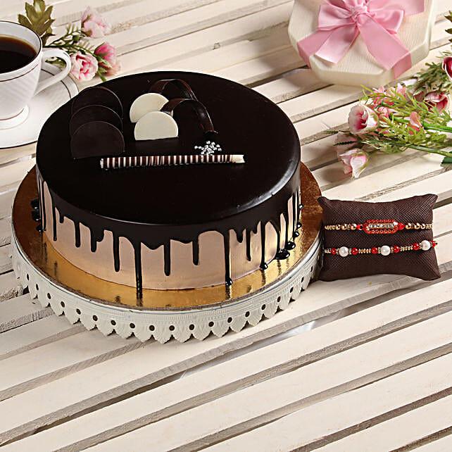 Pearl & Capsule Rakhi With Chocolate Cake: Rakhi Gifts
