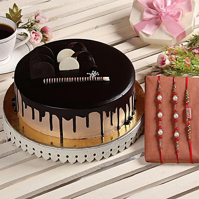 Chocolate Cake & Set of 4 Rakhis: Rakhi Gifts