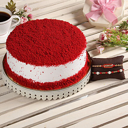 Red Velvet Cake With 2 Rakhis: Rakhi Gifts