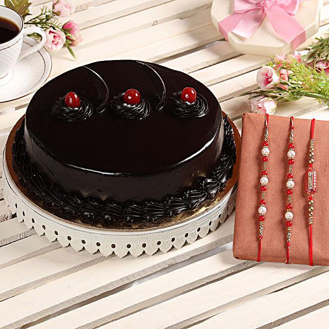 Truffle Cake & Set of 3 Rakhis: Rakhi