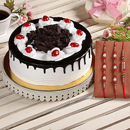 Black Forest Cake & Set of 3 Rakhis: Rakhi Gifts