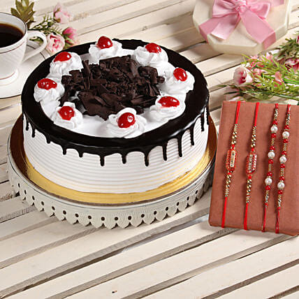Black Forest Cake & Set of 4 Rakhis: Rakhi Gifts