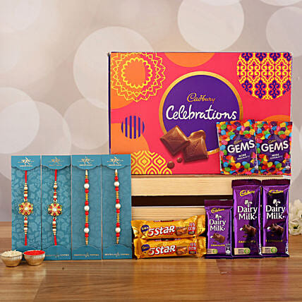 4 Designer Rakhis & Celebrations Chocolate: Rakhi Gifts