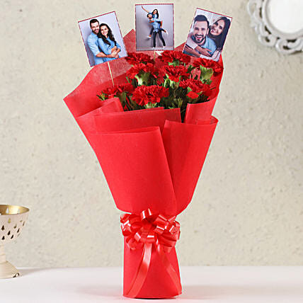 Personalised Red Carnations Bouquet: Gift For Karwa Chauth