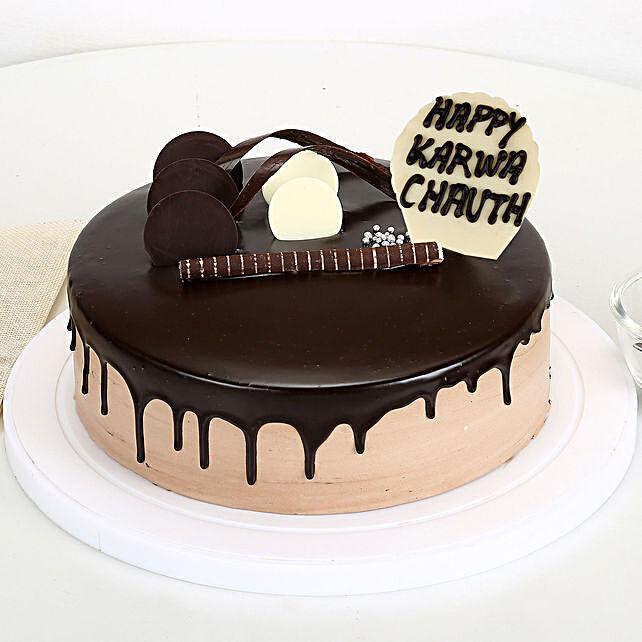 Happy Karwa Chauth Chocolate Cake: Gift For Karwa Chauth