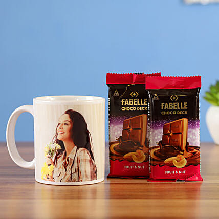 Fabelle Fruit Nut Choco Deck Bars With Mug Combo: Gift For Karwa Chauth