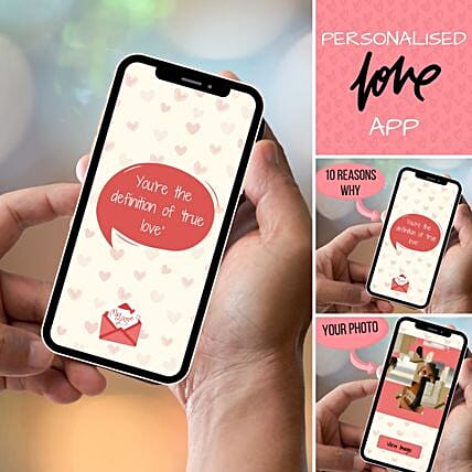 Personalised I Love You APP With Scratch Card: Valentines Day Gifts
